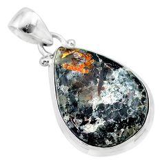 925 silver 13.15cts natural bronze astrophyllite (star leaf) pear pendant t22736