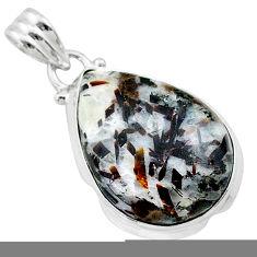 925 silver 15.55cts natural bronze astrophyllite (star leaf) pear pendant t22739