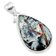 925 silver 13.13cts natural bronze astrophyllite (star leaf) pear pendant t22760