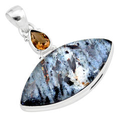925 silver 19.68cts natural bronze astrophyllite (star leaf) pendant t28508