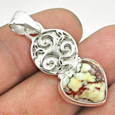 925 silver 6.72cts natural bronze wild horse magnesite heart pendant t55324