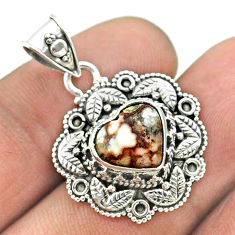 925 silver 4.94cts natural bronze wild horse magnesite heart pendant t56144