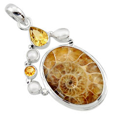 925 silver 27.70cts natural brown ammonite fossil citrine pearl pendant r40118