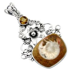 925 silver 15.85cts natural brown ammonite fossil fancy flower pendant d46684
