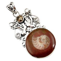 Clearance Sale- 925 silver 19.48cts natural brown ammonite fossil love birds pendant d44204