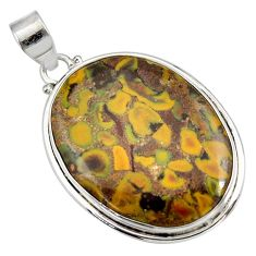 Clearance Sale- 925 silver 32.73cts natural brown bamboo leaf jasper oval shape pendant d41341