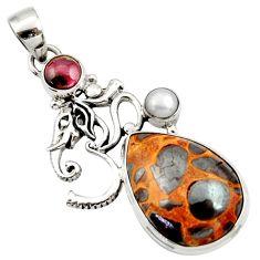 Clearance Sale- 925 silver 20.40cts natural brown bauxite garnet pearl symbol om pendant d43208