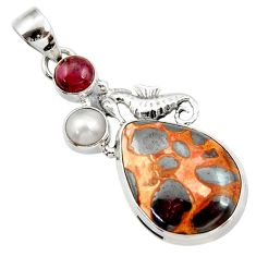 Clearance Sale- 925 silver 18.15cts natural brown bauxite red garnet pearl fish pendant d43215