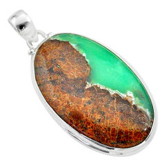 925 silver 30.88cts natural brown boulder chrysoprase oval pendant t42418
