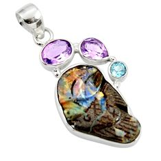 925 silver 16.73cts natural brown boulder opal carving amethyst pendant d44649