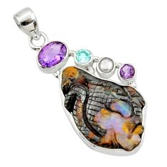 925 silver 20.65cts natural brown boulder opal carving amethyst pendant d44654