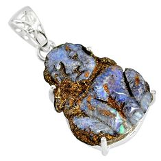 925 silver 14.26cts natural brown boulder opal carving dog charm pendant r79451
