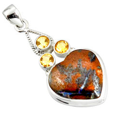 925 silver 22.59cts natural brown boulder opal heart citrine pendant r20324