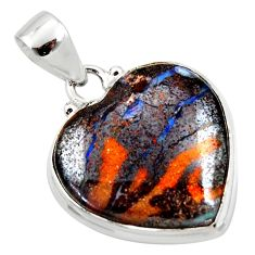 925 silver 16.68cts natural brown boulder opal heart pendant jewelry r50024