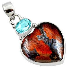 925 silver 17.57cts natural brown boulder opal heart topaz pendant r50010
