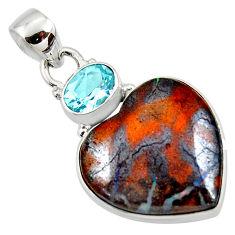 925 silver 18.15cts natural brown boulder opal heart topaz pendant r50015