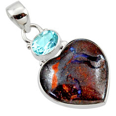 925 silver 16.20cts natural brown boulder opal heart topaz pendant r50017