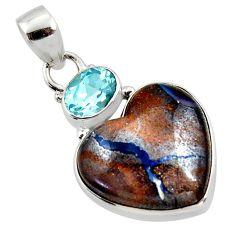 925 silver 17.18cts natural brown boulder opal heart topaz pendant r50020