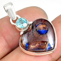 925 silver 13.08cts natural brown boulder opal heart topaz pendant r76424