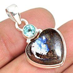 925 silver 12.55cts natural brown boulder opal heart topaz pendant r76428