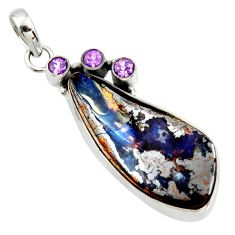925 silver 29.40cts natural brown boulder opal purple amethyst pendant r36229