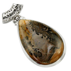 925 silver 30.44cts natural brown cotham landscape marble oval pendant d41592