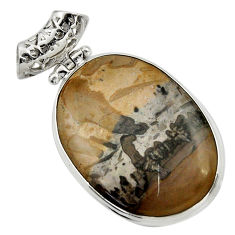 Clearance Sale- 925 silver 28.73cts natural brown cotham landscape marble oval pendant d41595