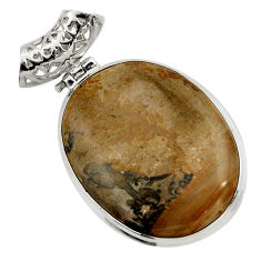 Clearance Sale- 925 silver 27.08cts natural brown cotham landscape marble oval pendant d41600