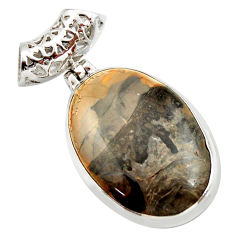 Clearance Sale- 925 silver 18.68cts natural brown cotham landscape marble oval pendant d42247