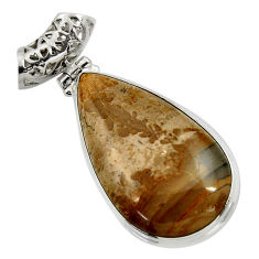 Clearance Sale- 925 silver 26.70cts natural brown cotham landscape marble pear pendant d41598