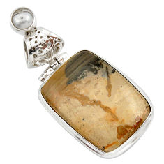 Clearance Sale- 925 silver 18.12cts natural brown cotham landscape marble pearl pendant d42258