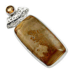Clearance Sale- 925 silver 28.73cts natural brown cotham landscape marble pendant d41590