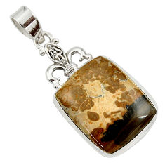 Clearance Sale- 925 silver 19.23cts natural brown cotham landscape marble pendant d45284