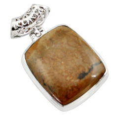 Clearance Sale- 925 silver 26.16cts natural brown cotham landscape marble pendant d45304