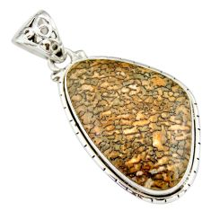 925 silver 22.90cts natural brown dinosaur bone fossilized fancy pendant r20119