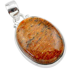 925 silver 17.57cts natural brown dinosaur bone fossilized oval pendant t38457