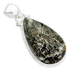 925 silver 15.08cts natural brown dinosaur bone fossilized pear pendant r94892