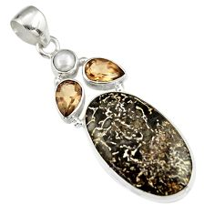 925 silver 18.15cts natural brown dinosaur bone fossilized pearl pendant r19614