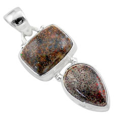 925 silver 9.88cts natural brown dinosaur bone fossilized pendant t42109