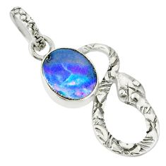925 silver 2.38cts natural brown doublet opal australian snake pendant r78554