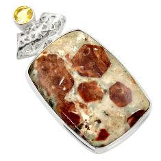 925 silver 33.68cts natural brown garnet in limestone spessartine pendant d42186