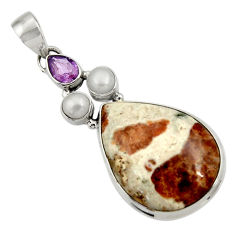 Clearance Sale- 925 silver 24.00cts natural brown garnet in limestone spessartine pendant d44736