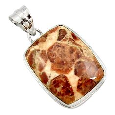 925 silver 18.68cts natural brown garnet in limestone spessartine pendant r27849