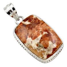 925 silver 18.70cts natural brown garnet in limestone spessartine pendant r27860