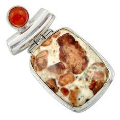 925 silver 25.19cts natural brown garnet in limestone spessartine pendant r41668