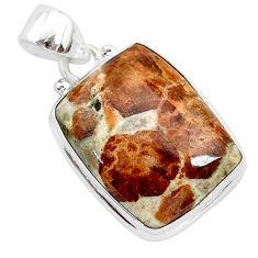 925 silver 16.62cts natural brown garnet in limestone spessartine pendant r94870