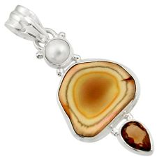 Clearance Sale- 925 silver 12.62cts natural brown imperial jasper smoky topaz pendant d45094