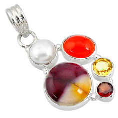 925 silver 20.65cts natural brown mookaite cornelian (carnelian) pendant r72866