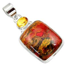 Clearance Sale- 925 silver 20.07cts natural brown moroccan seam agate citrine pendant d42227