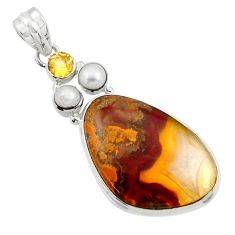 Clearance Sale- 925 silver 26.70cts natural brown moroccan seam agate citrine pendant d45120